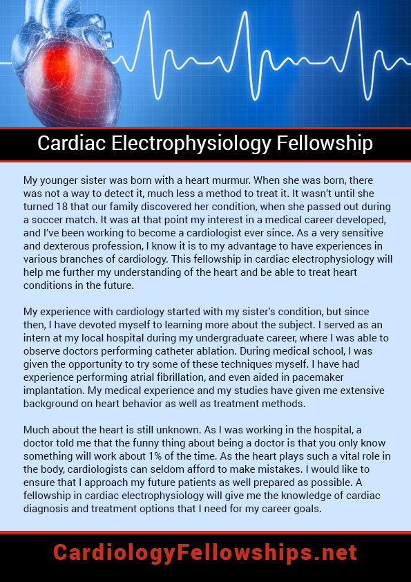 Personal statement for cardiology fellowship sample