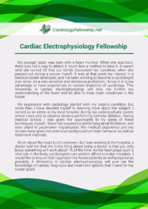 cardiac electrophysiology fellowship personal statement sample